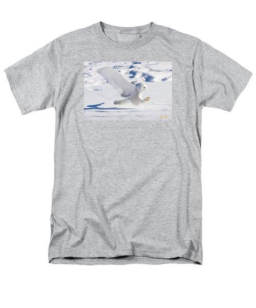 Men's T-Shirt  (Regular Fit) featuring the photograph Snowy Owl Pouncing by Rikk Flohr