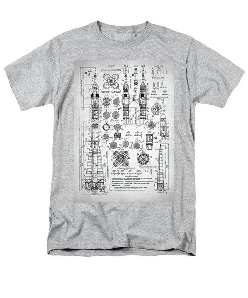 Men's T-Shirt  (Regular Fit) featuring the digital art Soviet Rocket Schematics by Taylan Apukovska