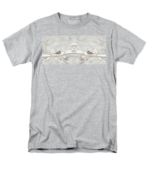 Men's T-Shirt  (Regular Fit) featuring the photograph Sparrow In The Cherry Tree by Lila Fisher-Wenzel