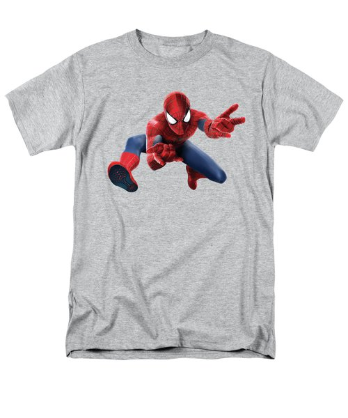 Men's T-Shirt  (Regular Fit) featuring the mixed media Spider Man Splash Super Hero Series by Movie Poster Prints