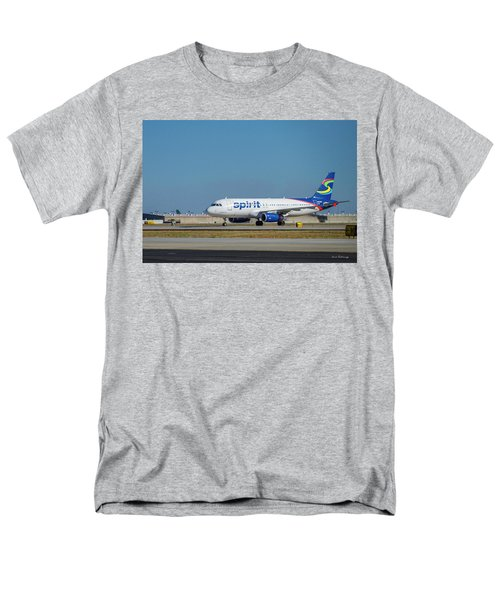 Men's T-Shirt  (Regular Fit) featuring the photograph Spirit Airlines Airbus A320 N608nk Airplane Art by Reid Callaway