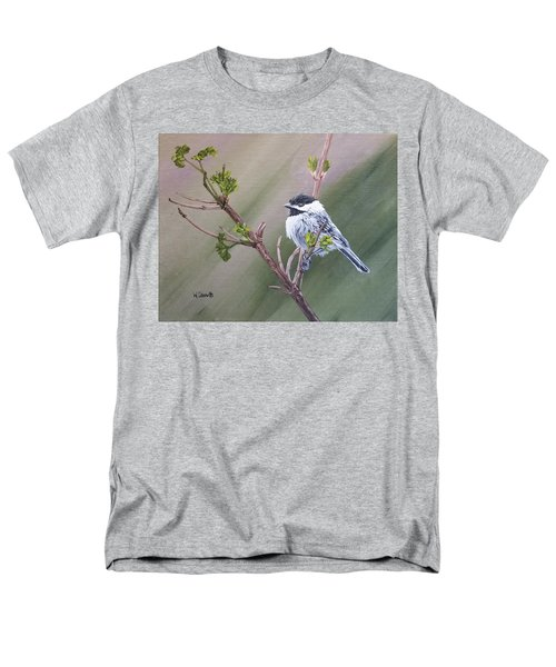 Spring Chickadee Men's T-Shirt  (Regular Fit) by Wendy Shoults