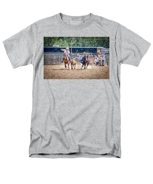 Men's T-Shirt  (Regular Fit) featuring the photograph Steer Wrestling With An Audience by Darcy Michaelchuk
