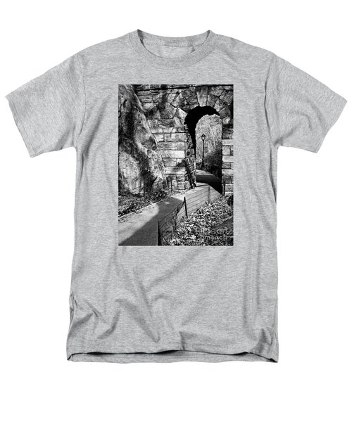 Stone Arch In The Ramble Of Central Park - Bw Men's T-Shirt  (Regular Fit) by James Aiken