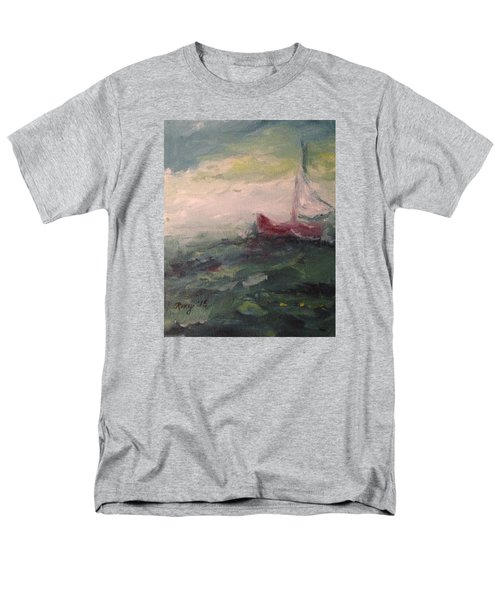 Stormy Sailboat Men's T-Shirt  (Regular Fit) by Roxy Rich