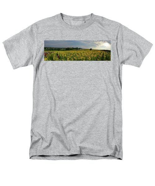 Men's T-Shirt  (Regular Fit) featuring the photograph Sunflowers, People, And Pictures 2 by Janice Adomeit