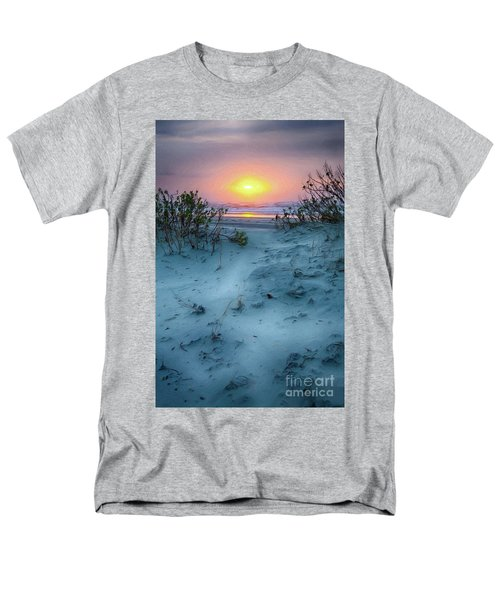 Men's T-Shirt  (Regular Fit) featuring the painting Sunrise Hike On The Outer Banks Ap by Dan Carmichael