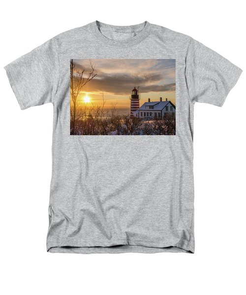 Men's T-Shirt  (Regular Fit) featuring the photograph Sunrise West Quoddy Lighthouse by Trace Kittrell