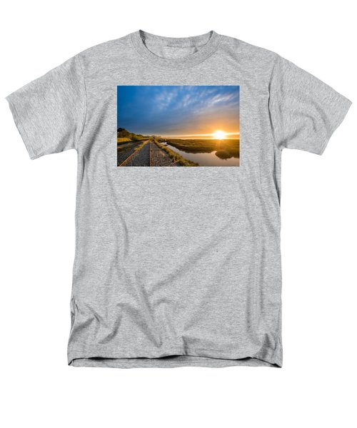 Sunset And Railroad Tracks Men's T-Shirt  (Regular Fit) by Greg Nyquist