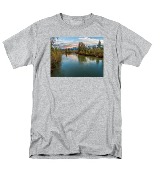 Men's T-Shirt  (Regular Fit) featuring the photograph Sunset Glow Over The Snoqualmie River by Rob Green