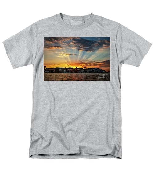 Sunset Sunrays Over Huntington Harbour Men's T-Shirt  (Regular Fit) by Peter Dang