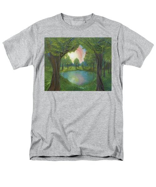 Men's T-Shirt  (Regular Fit) featuring the mixed media Sunset Through Trees by Angela Stout
