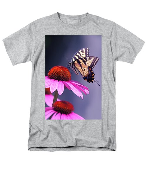 Men's T-Shirt  (Regular Fit) featuring the photograph Swallowtail And Coneflower by Byron Varvarigos