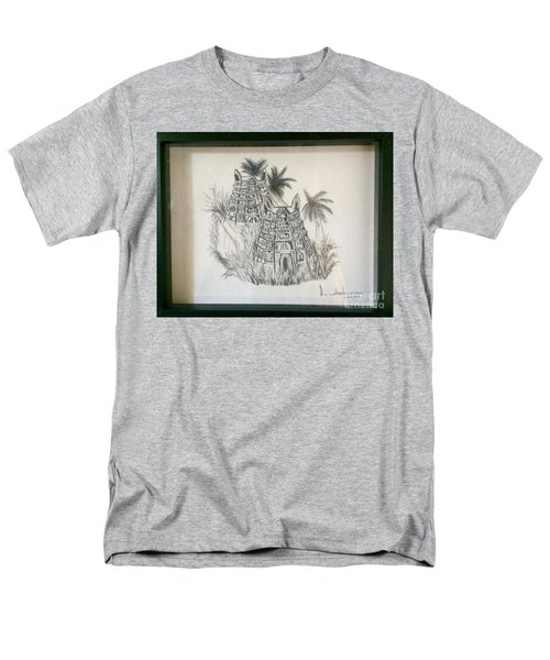 Men's T-Shirt  (Regular Fit) featuring the painting Temple In Calligraphy Ink by Brindha Naveen