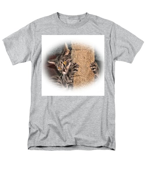 Men's T-Shirt  (Regular Fit) featuring the photograph Terrorizing The Scratching Post by Debbie Stahre