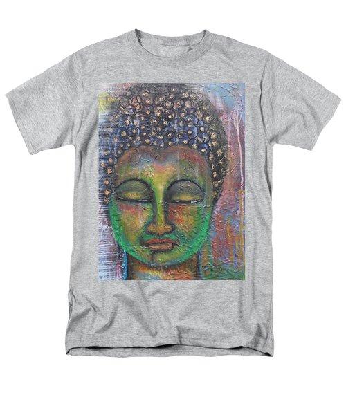 Textured Green Buddha Men's T-Shirt  (Regular Fit) by Prerna Poojara