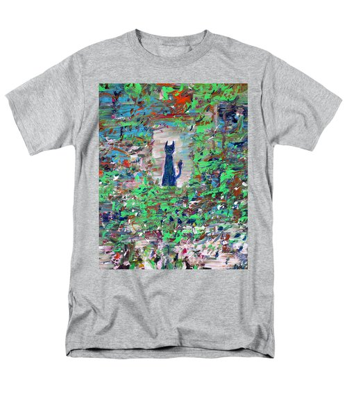 Men's T-Shirt  (Regular Fit) featuring the painting The Cat In The Garden by Fabrizio Cassetta