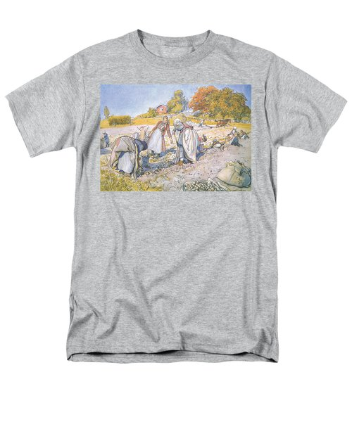 The Children Filled The Buckets And Baskets With Potatoes Men's T-Shirt  (Regular Fit) by Carl Larsson