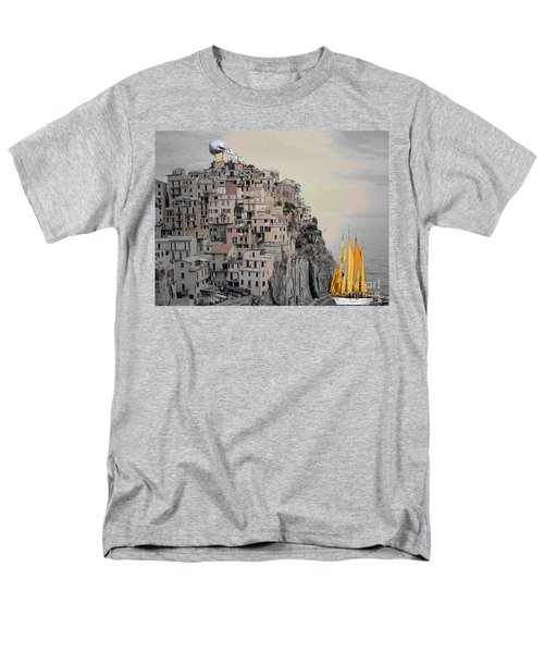 Men's T-Shirt  (Regular Fit) featuring the painting The Golden Sails by Mojo Mendiola