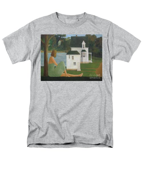 Men's T-Shirt  (Regular Fit) featuring the painting The Lonely Side Of The Lake by Glenn Quist