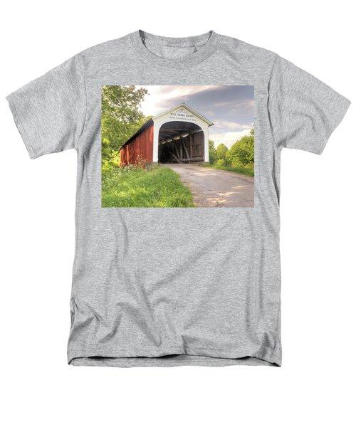 The Mill Creek Covered Bridge Men's T-Shirt  (Regular Fit) by Harold Rau