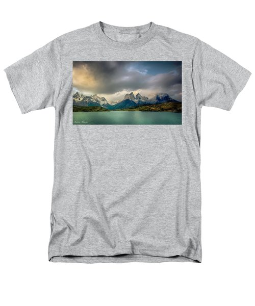 Men's T-Shirt  (Regular Fit) featuring the photograph The Mountains On The Lake by Andrew Matwijec