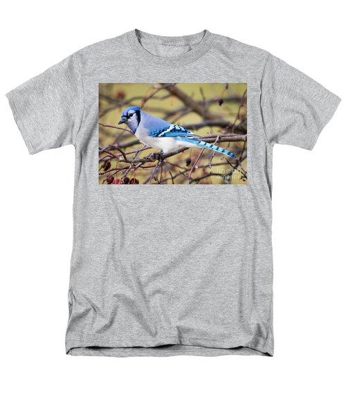 The Winter Blue Jay  Men's T-Shirt  (Regular Fit) by Ricky L Jones