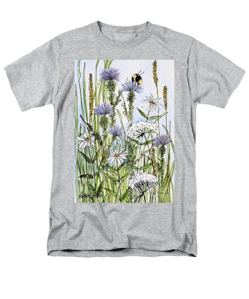Thistles Daisies And Wildflowers Men's T-Shirt  (Regular Fit) by Laurie Rohner