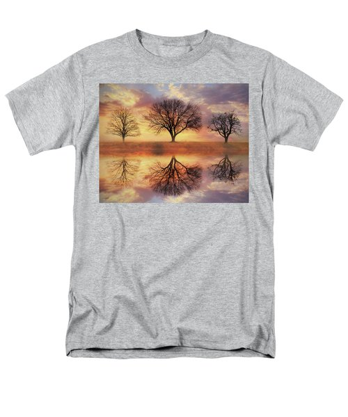 Men's T-Shirt  (Regular Fit) featuring the mixed media Trio Of Trees by Lori Deiter