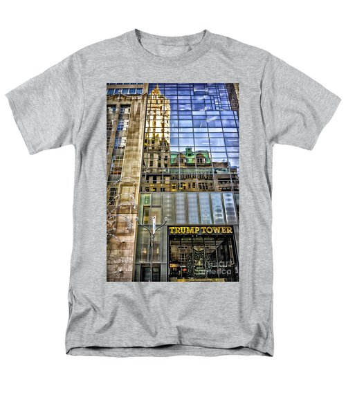 Men's T-Shirt  (Regular Fit) featuring the photograph Trump Tower With Reflections by Walt Foegelle