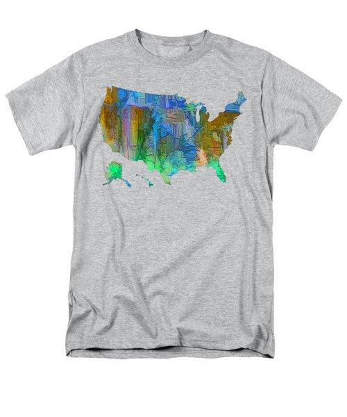 Usa - Colorful Map Men's T-Shirt  (Regular Fit)