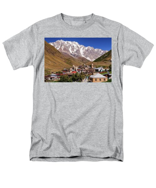 Men's T-Shirt  (Regular Fit) featuring the photograph Ushguli And  Shkhara Mount by Sergey Simanovsky