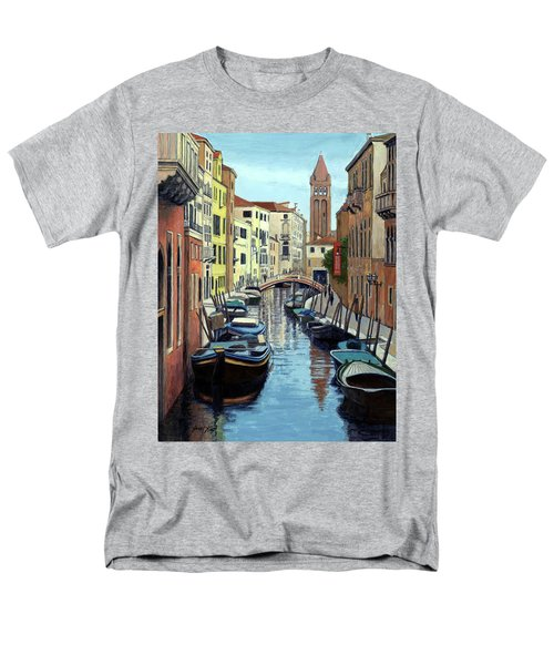 Men's T-Shirt  (Regular Fit) featuring the painting Venice Canal Reflections by Janet King