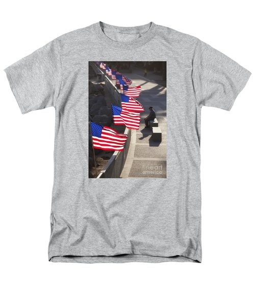 Men's T-Shirt  (Regular Fit) featuring the photograph Veteran With United States Flags by John A Rodriguez