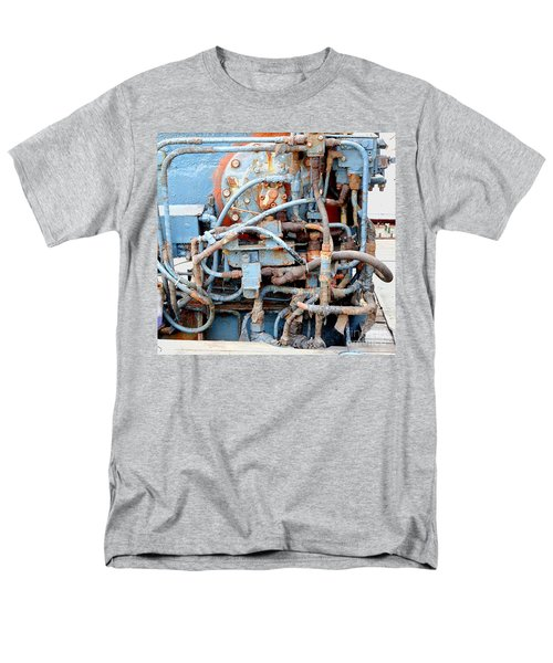 Men's T-Shirt  (Regular Fit) featuring the photograph Vintage Old Diesel Engine On A Ship by Yali Shi