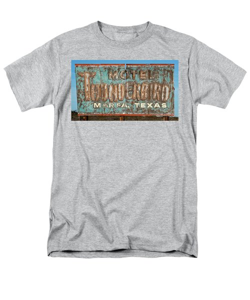 Men's T-Shirt  (Regular Fit) featuring the photograph Vintage Weathered Thunderbird Motel Sign Marfa Texas by John Stephens