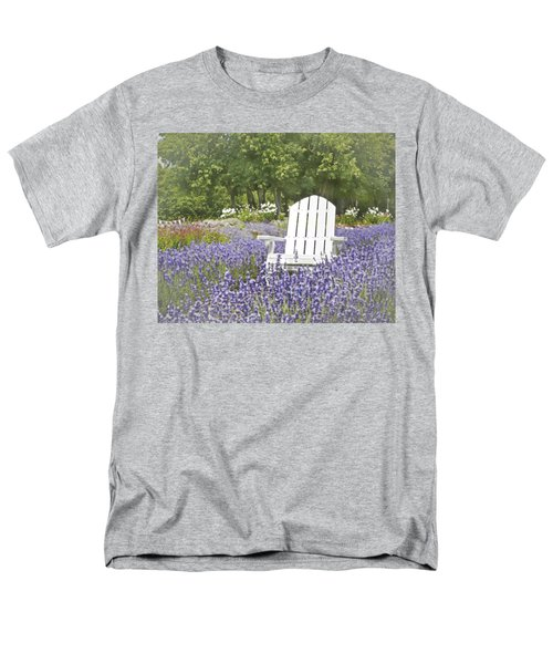 Men's T-Shirt  (Regular Fit) featuring the photograph White Chair In A Field Of Lavender Flowers by Brooke T Ryan