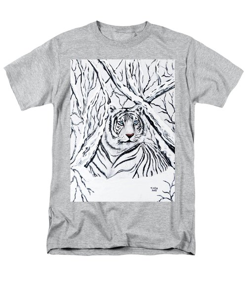 Men's T-Shirt  (Regular Fit) featuring the painting White Tiger Blending In by Teresa Wing