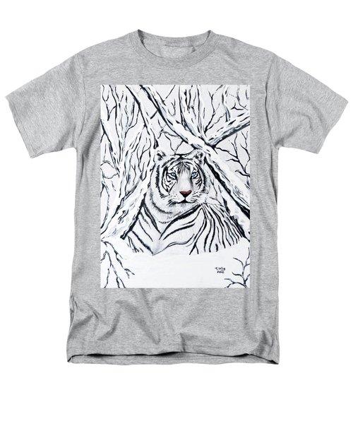 White Tiger Blending In Men's T-Shirt  (Regular Fit)