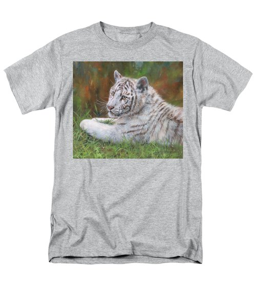 Men's T-Shirt  (Regular Fit) featuring the painting White Tiger Cub 2 by David Stribbling