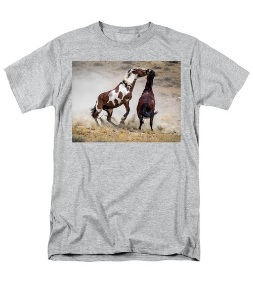 Wild Stallion Battle - Picasso And Dragon Men's T-Shirt  (Regular Fit) by Nadja Rider
