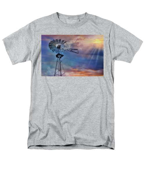 Men's T-Shirt  (Regular Fit) featuring the photograph Windmill At Sunset by Susan Candelario