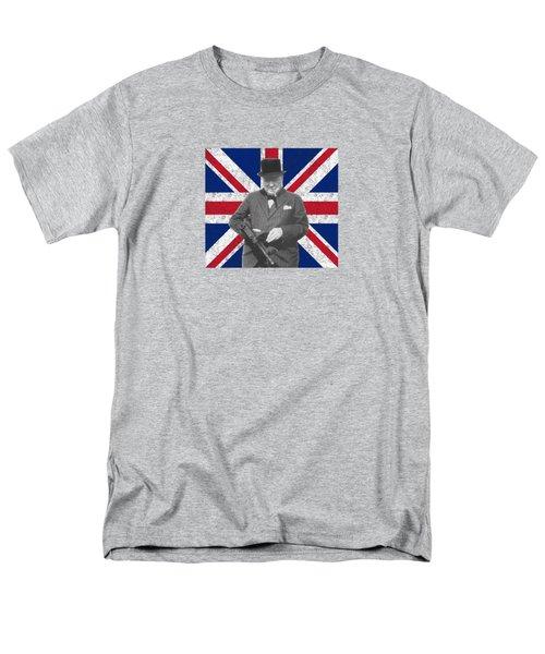 Winston Churchill And His Flag Men's T-Shirt  (Regular Fit)