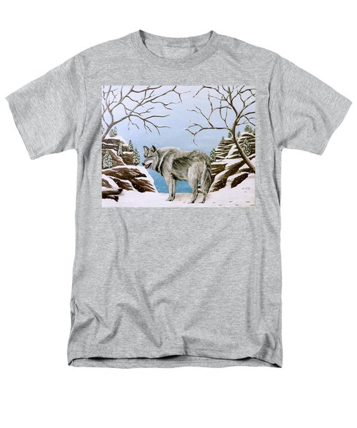 Men's T-Shirt  (Regular Fit) featuring the painting Wolf In Winter by Teresa Wing