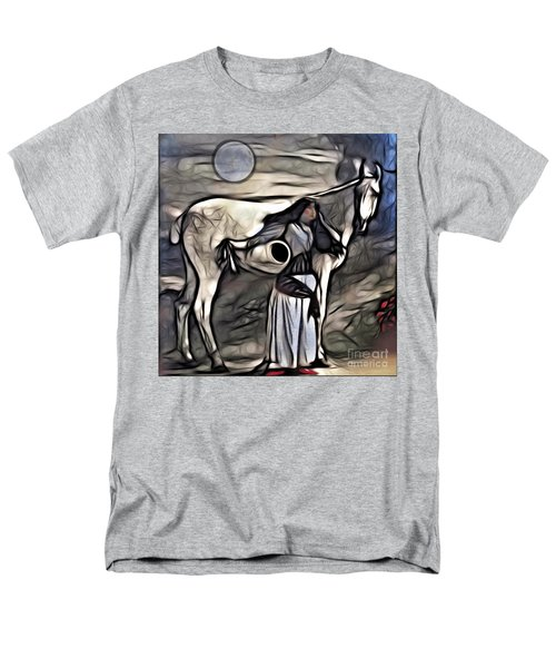 Woman With White Horse Men's T-Shirt  (Regular Fit) by Alexis Rotella