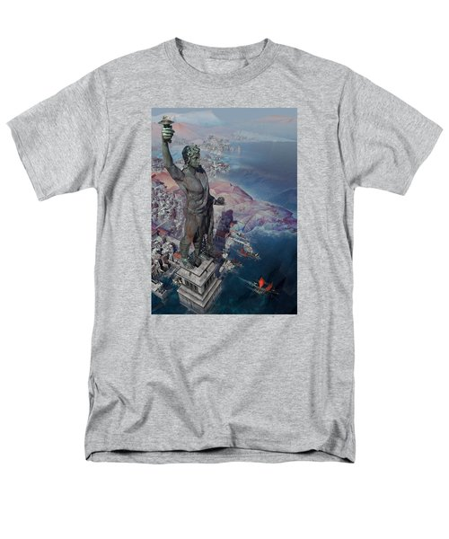 Men's T-Shirt  (Regular Fit) featuring the digital art wonders the Colossus of Rhodes by Te Hu