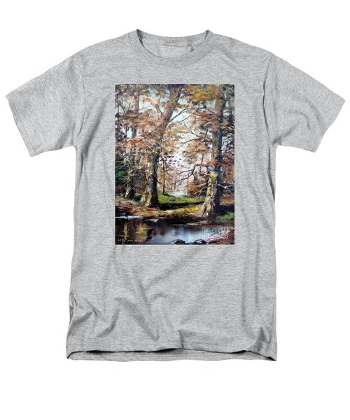 Men's T-Shirt  (Regular Fit) featuring the painting Woodland Pond  by Lee Piper