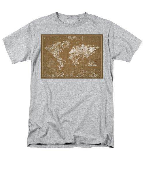 World Map Blueprint 4 Men's T-Shirt  (Regular Fit) by Bekim Art