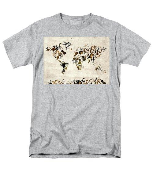 Men's T-Shirt  (Regular Fit) featuring the digital art World Map Music 1 by Bekim Art