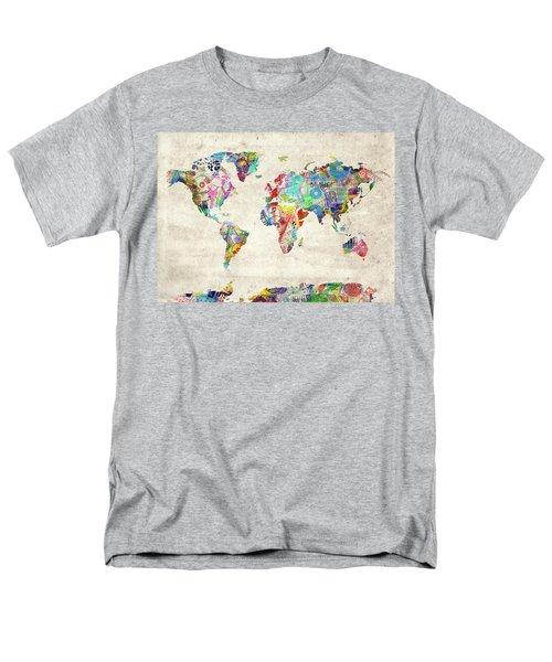 Men's T-Shirt  (Regular Fit) featuring the digital art World Map Music 12 by Bekim Art
